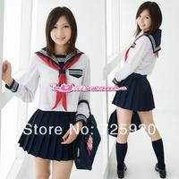 long-sleeve navy blue sailor suit school wear uniform set hot-selling free shipping