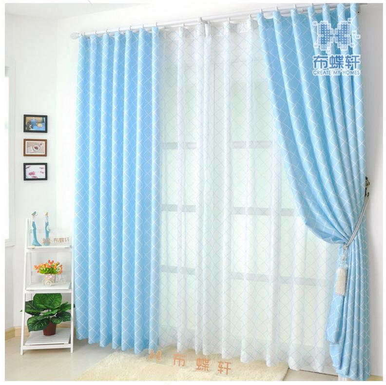 Online kopen wholesale blauw geruite gordijnen uit china blauw geruite gordijnen groothandel - Slaapkamer blauw meisje ...