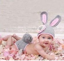 Handmade infantil Crianças Hat bebê recém-nascido Crochet Gorro criança malha Grey Hare Coelho Props Fotografia Capa Set Costume(China (Mainland))