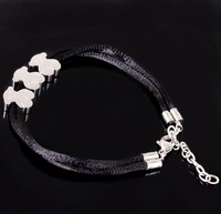 2014 New Stainless Steel Silver Jewely 3 Little Cute Bear Rope Bracelet Bangle For Lovely Lady Girl, Free Size With Length Chain