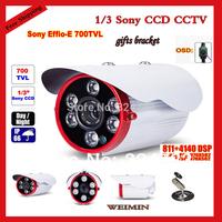Wholesale - 1/3 inch SONY Effio-E CCD 700TVL 100m Array IR Waterproof OSD menu Outdoor CCTV Camera