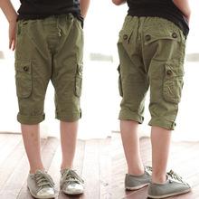 2014 summer personalized pocket boys clothing baby child capris casual pants kz-3591(China (Mainland))