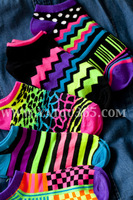 Punned HARAJUKU zipper soft neon color saturation block sock slippers