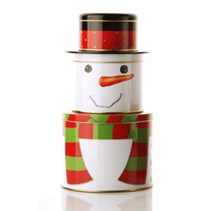 Christmas Tin Box Deacor Creative Three Layer Santa/Snowman Christmas Storage Case Tin Cans Store Content Box Metal Box(China (Mainland))