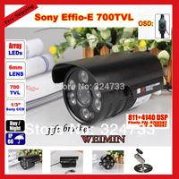 "700TVL 1/3"" Sony Effio CCD  100m 6 led Array IR OSD menu outdoor Color day /night IP66 waterproof Security video CCTV cameras"