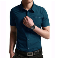 Plus Size 4XL 5XL men shirt  cotton short sleeve fashion shirt  4color  for 2014 summer   (ZC0008)