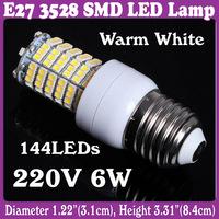 E27 Base SMD 3528 144 LED Home Hotel Spot Light Bulb AC 220V 6W Warm White Hot  5 pcs/Lot