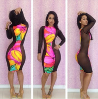 2014 New Style Open Back Sexy Bandage Dress Bodycon Print Long-Sleeve Party Evening Dresses For Women Clubwear Lace Print Dress