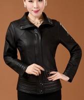 High quality fashion leather clothing women 2014 spring mother clothing leather jacket women leather coat black jackets 6XL