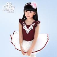 1550 100% cotton dance clothes child ballet skirt 2 leotard costume