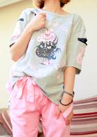 Harajuku zipper skull ice cream cat five-pointed star zipper short-sleeve T-shirt