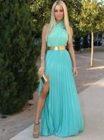 2014 Sexy Design New Gold Belt Custom Size Chiffon A-Line Long Formal Evening Dresses Gown