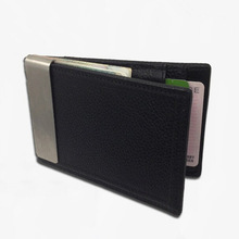 2014 fashion 100% Brand Genuine cow leather stainless steel money clips leather money cash men wallet(China (Mainland))