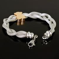 """7.87""""*18mm 22g New Stainless Steel 18K Gold Plated Charms Bear Pendant Net Chain Bracelet Bangle For Women Girl, Good Gift"""