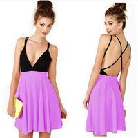 2015 Summer Sexy spaghetti strap colorant match deep V-neck backless chiffion dress,mini prom dress,plus size S-4XLgirls dresses
