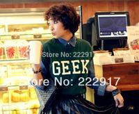 New 2014 Korea Stylenanda Crimping Sleeve Women T-shirt Casual Fashion Sense GEEK t shirts Loose Letter T-shirts