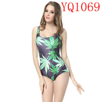 2014 Elastic Black Green Girl Woah Dude Leaf Pattern Digital Print White One Pieces Swimwear Sleeveless Backless Women  YQ1069