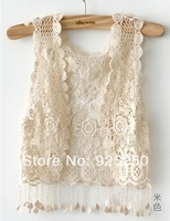 promotion crochet vest fashion 2014 spring summer bohemian style white beige color sexy embroidery floral lace crochet cardigan