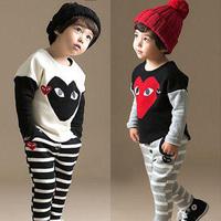 2014 spring patchwork boys clothing girls clothing child sweatshirt long trousers set tz-1231