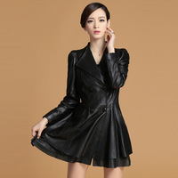 14111 new genuine sheep leather coat jacket skirt version overcoat long lamb leather outer coat office dress lace decoration