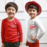 2014 spring cat pocket boys clothing baby child long-sleeve T-shirt tx-2622 basic shirt