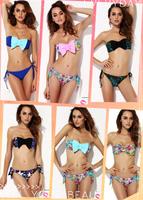 new 2014 DropShip high waist Bikini RETRO two piece Swimsuit bathing suits Swimwear Vintage floral print bikinis set for women