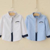 2014 spring and autumn stripe pocket boys clothing baby child long-sleeve shirt tx-2912