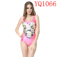 Elastic Pink Girl Despicable Me The Minion Pattern Digital Print White One Pieces Swimwear Sleeveless Backless Women  YQ1066