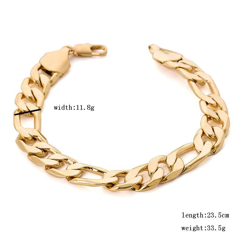 Men heavy metal jewelry 9inch 12mm 33 5 grams thick solid figaro gold chain bracelets bangles