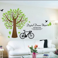 Europe trees bike home decoration DIY PVC waterproof wallpaper murals living room cheap wall decor stickers
