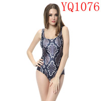 Snake Skin  Pattern Digital Print 2014 Elastic Girl One Pieces Swimwear Sleeveless Backless Women  YQ1076