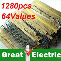 64 values 1280pcs 1 ohm - 10M ohm 1/4W Metal Film Resistors Assortment Kit Free Shipping SKU33008