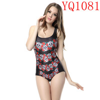 Black SUMMER Girl  Cartoon Rose Skull  Pattern Digital Print Elastic White One Pieces Swimwear Sleeveless Backless Women YQ1081