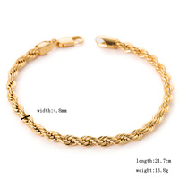 European style fashion 8.5 inches 4.8mm 13.8 grams gold rope chain bracelets & bangles for men women 18K yellow  gold GP filled
