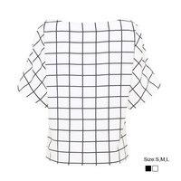 HZA078 Brand New Fashion Women Elegant Classic Plaid Print Shirts O-neck Short Sleeve Chiffon Casual OL Blouses Tops Black/white