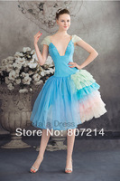 2014 Charming Short prom dress - blue party dress / blue prom dress / short cocktail dress / short evening gown / homecoming dre