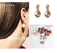 brand earrings,2014 italina new design double pearl stud earrings gold