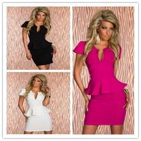 Sale! 4 Color S M L XL New 2014 European Fashion Women club wear dress Popular Elegant Bodycon Peplum ruffle Dress Casual Dress