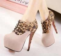 2014 leather sexy women shoe leopard sexy highheel nightclub
