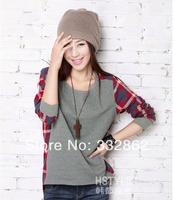 Free shipping the new spring 2014 fashion clothing size lattice T-shirt baggy T-shirt slim bottoming shirt sleeved T-shirt
