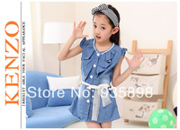 Free Shipping! children's dress summer dress jeans clothes 2014 wholesale+retail girl's jeans dress from shenzhen