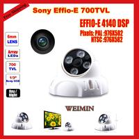 CCTV Dome Camera 1/3 SONY Effio-E CCD 700TVL 50meters 4 led Array IR  color indoor cctv camera security surveillance Equipment