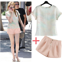 2014 summer double layer short-sleeve T-shirt shorts set