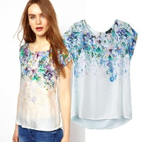 Free shipping new 2014 spring summer vintage gradient color print chiffon stitching round neck casual women T-shirt 6247