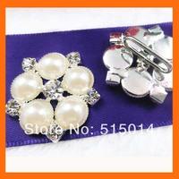 pearls and  rhinestone ribbon buckle sliders  for wedding invitation   200pcs/lot free shipping