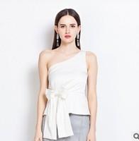 New 2014 Spring Sloping Off the Shoulder Blouse Women White Blusas Femininas Bow Pleats Peplum Top Blouses Resort Wear Tee Shirt