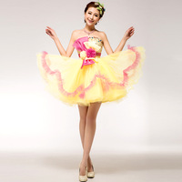 Costume tube top flower design dress short formal dress