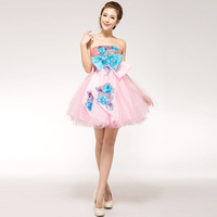 2014 costume fashion formal dress tube top short design bridesmaid dress formal dress female