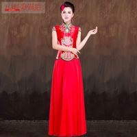 Summer 2014 cheongsam short-sleeve bridal wear red marry vintage evening dress