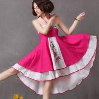 National embroidery trend cotton bohemia beach dress slim expansion bottom one-piece dress spaghetti strap two ways dress